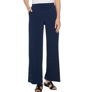 Susan Graver Petite Liquid Knit Wide-Leg Pants 266